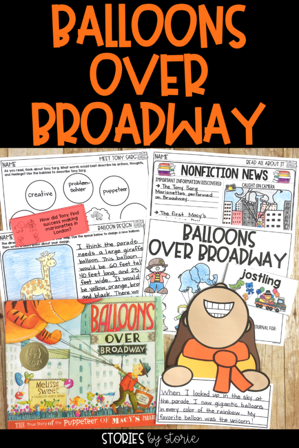 Balloons Over Broadway by Melissa Sweet is a picture book biography that tells the true story of Tony Sarg, the puppeteer behind the Macy's parade. Here are some comprehension and vocabulary activities along with a balloon-watching kid craft that you can use when reading this story.