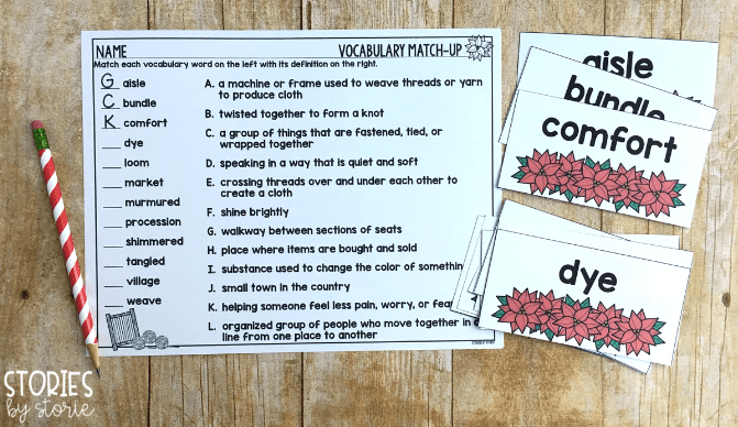 I have included 12 vocabulary words for The Legend of the Poinsettia. The words and definitions can be printed back-to-back for student flashcards. They can be printed on one side for a pocket chart display or matching game. A match-up page has been included to check for student understanding.