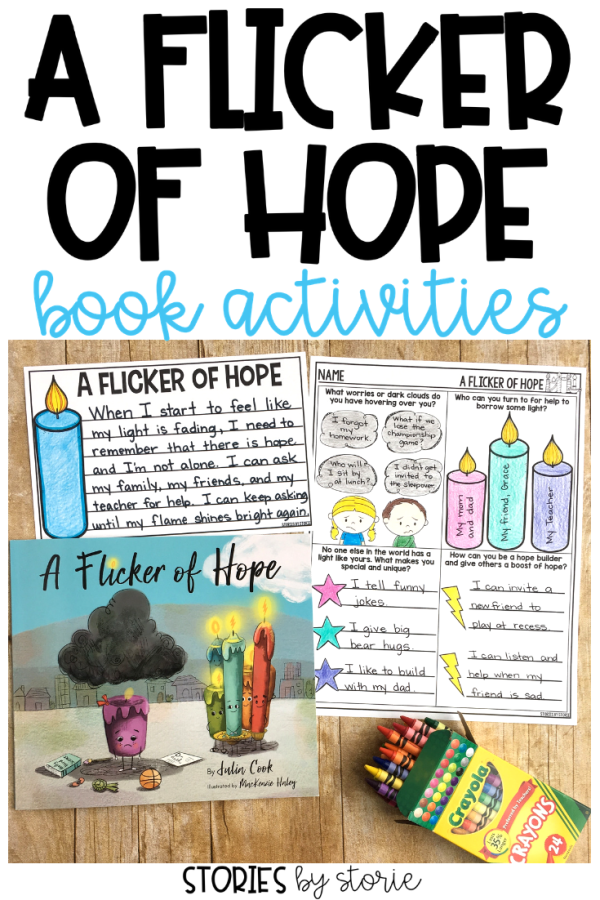 A Flicker of Hope emphasizes for children (and adults) the many different ways to ask for help, and their ability to be a hope builder for others, too. Here are some activities you can use with this story written by Julia Cook.
