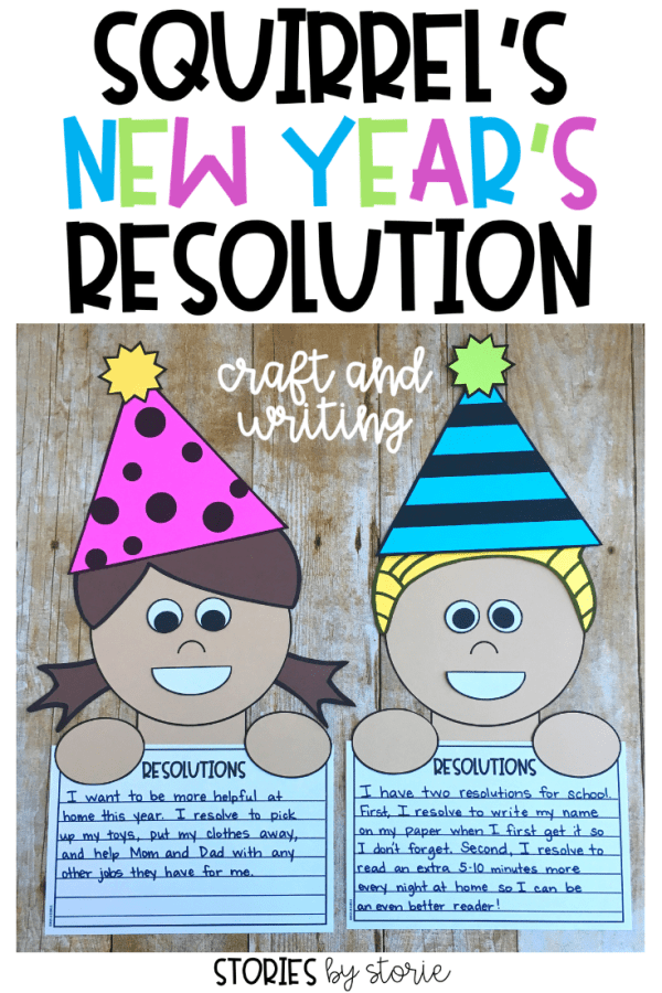 After reading Squirrel's New Year's Resolution, students can make their own resolution with this kid craft.