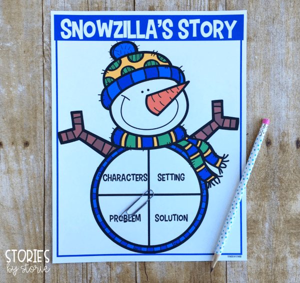 After reading Snowzilla by Janet Lawler, students can practice identifying story elements with this spinner activity. This can be completed whole group, in a small group setting, or with partners.