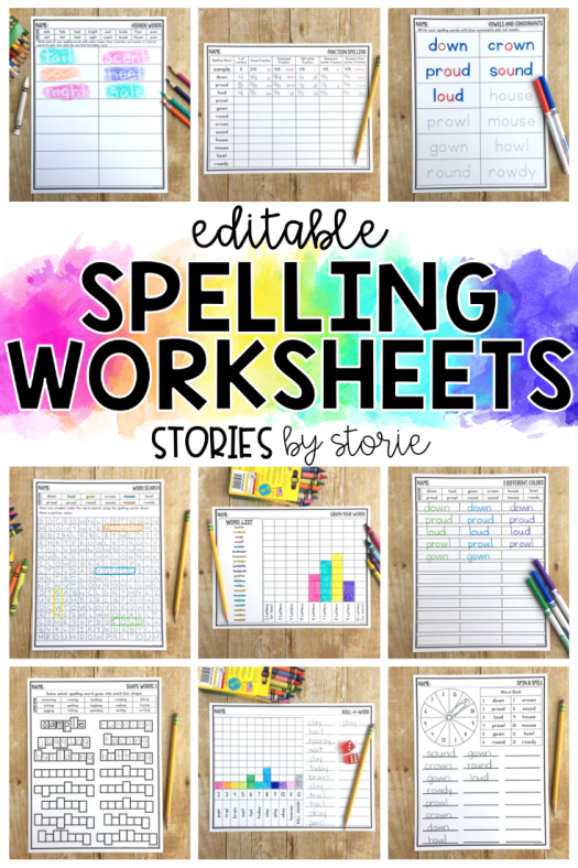 Are you looking for some new ways for your kids to practice their spelling or sight words? These editable spelling worksheets allow kids to practice their words in a variety of ways.