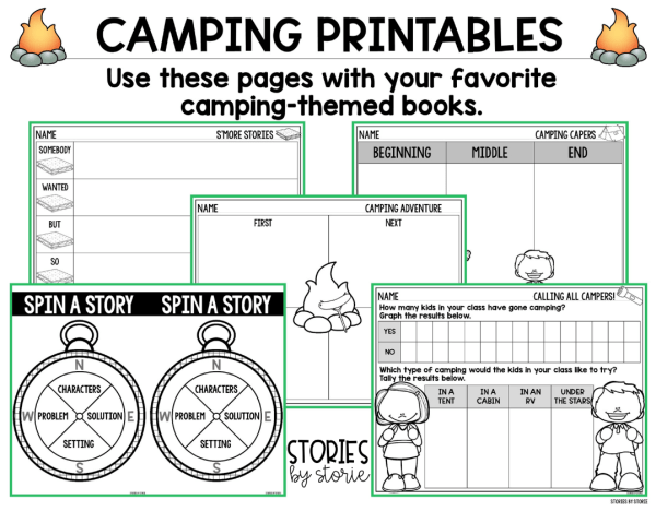 These camping printables can be used with your favorite camping books for kids. These pages include a graph along with several camping-themed reading responses.