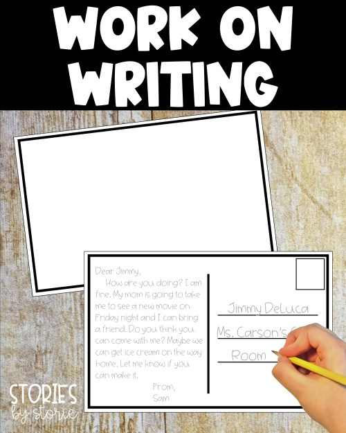 Students can work on writing with these postcards. You can print multiple copies each month and place them in your writing center. You can even add a classroom mailbox where students can place their postcards when finished.