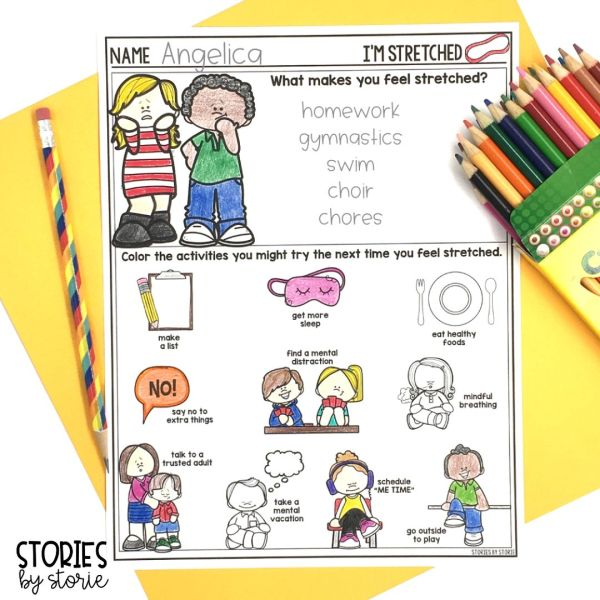 After reading I'm Stretched by Julia Cook, students can share what activities make them feel stretched. Then students can color the strategies they might try the next time they feel stressed.
