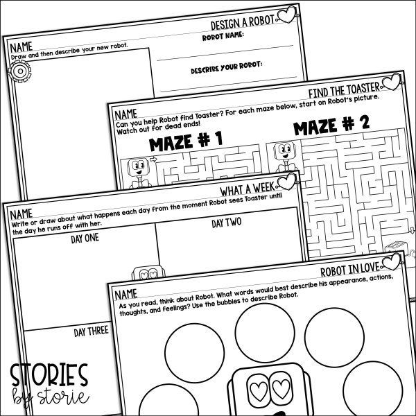 I have included a few extra activities you can use with Robot in Love by T.L. McBeth. Students can complete these mazes, design and describe a new robot, and describe Robot along with his day-to-day interactions with Toaster.