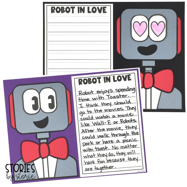 After reading Robot in Love, students can create their own robot using the provided templates. This robot craft pairs well with a piece of writing and would make a great hallway display!