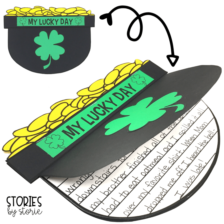 After reading Lucky Tucker, students can write their own lucky day story. The writing pages can be tucked inside this pot of gold craft to help match the theme of the story.