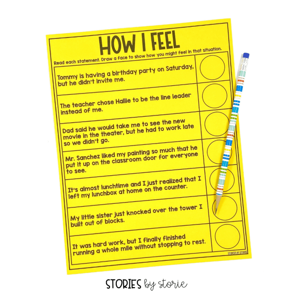 It's important to help students identify and name their feelings. Students can read each statement and draw a face to show how they might feel in those situations.