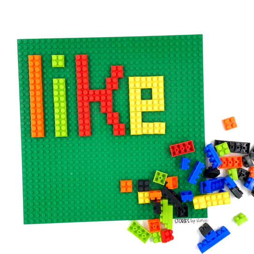 Are you looking for some new ways for your kids to practice their spelling or sight words? Grab some Legos or building bricks. Kids can build their words letter by letter. This will also provide some creative problem solving skills to create curved letters on the board.