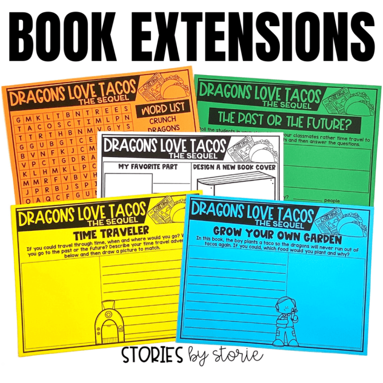 After reading Dragons Love Tacos 2: The Sequel, students can complete these book extensions. This includes a book review, word search, graphing activity, and two creative writing tasks.