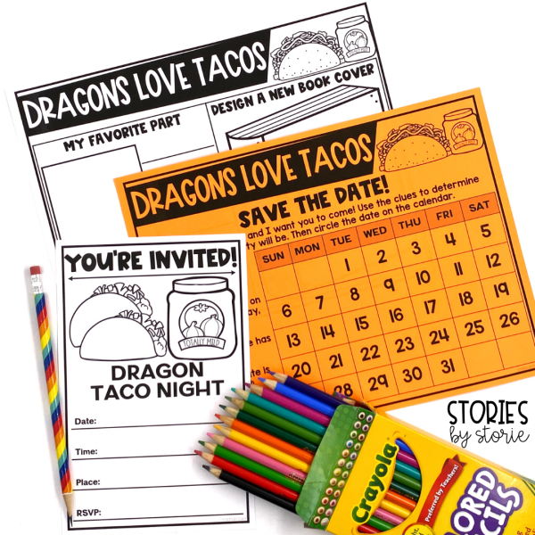 After reading Dragons Love Tacos, students can complete these book extensions. Students can complete a book review, create their own taco night invitation, and read clues to determine the date of a party.