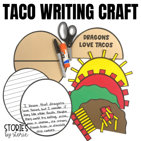 After reading Dragons Love Tacos, students can put together this taco writing craft. This craft includes templates to build a taco with meat, lettuce, cheese, and tomatoes. I have also included several suggestions for writing prompts, but you can always choose your own. These writing prompts can be glued inside the taco.