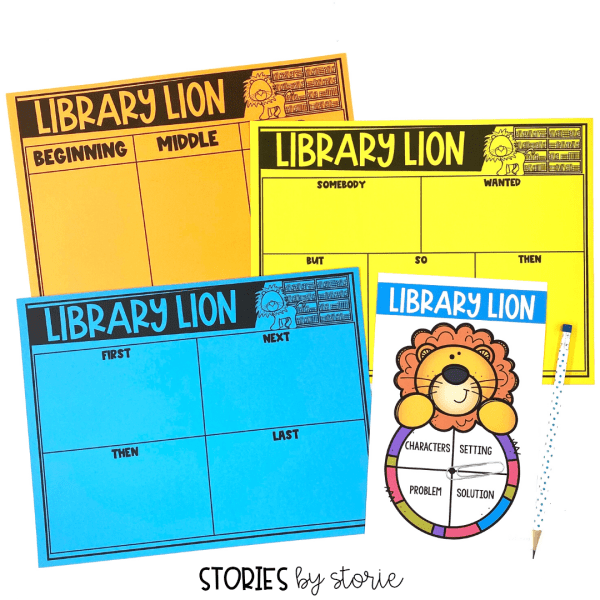 Students can practice retelling or summarizing Library Lion with these graphic organizers. There's also a spinner activity to work on story elements.