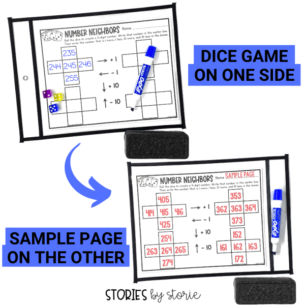 Once taught, kids can play these math dice games independently and practice key math skills. Add these math activities to your centers, math rotations, or fast finishers bin. Include the sample page to reduce interruptions during small group time.