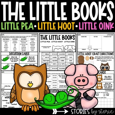 This book companion for Little Pea, Little Hoot, and Little Oink has discussion questions, sequencing activities, graphic organizers, themed activities, and a writing craft for each book. There's even a Google Slides link for distance learning.