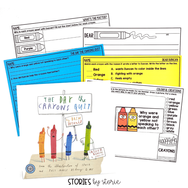 Here are a handful of activities to pair with The Day the Crayons Quit by Drew Daywalt. This includes discussion questions, graphic organizers, and more!