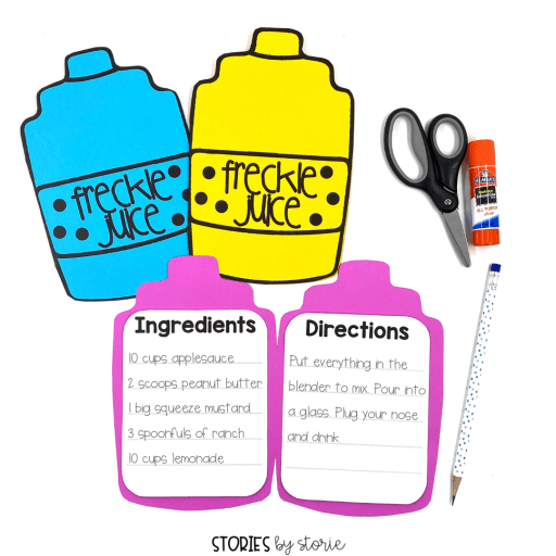 After reading Freckle Juice, students can create their own recipes with this craft. The craft opens to reveal a piece of writing, which has several options for writing templates.