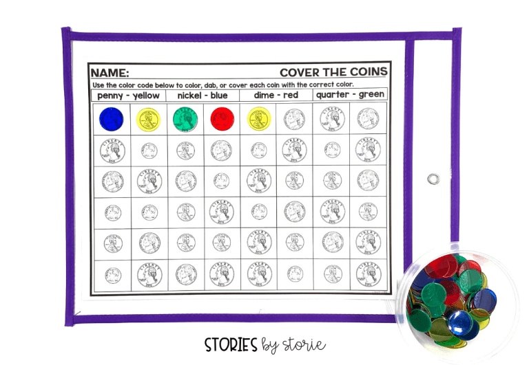 Cover the Coins helps students practice coin identification. Students can color, dab, or cover each coin. Once students are finished, encourage them to find the total amount of money shown in each row, column, or on the entire board.