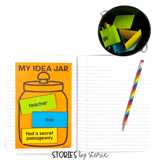 Students can draw cards from the idea jar and add them to the idea jar printable in their Writer's Notebook. This keeps the ideas handy as students plan out the story and create a rough draft.