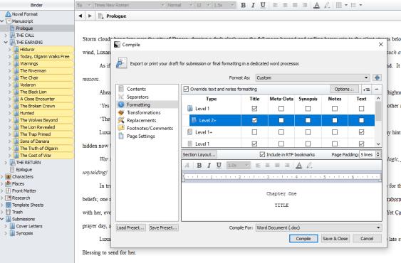scriv formating