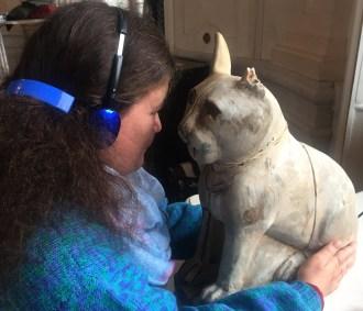Margaret communing with Cat Mummy