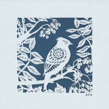 Crested Tit in Foliage. Handmade papercut, 20cm x 20cm