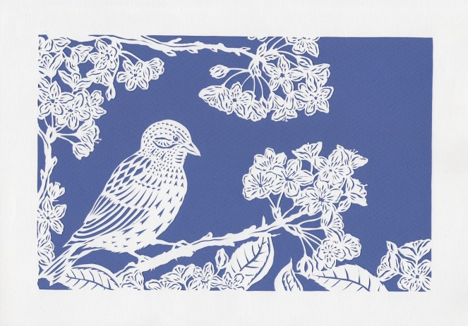 Sparrow and Cherry Blossoms, 2017. Handmade papercut.