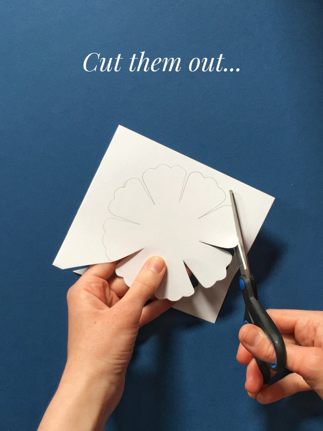 Cutting paper flower template.