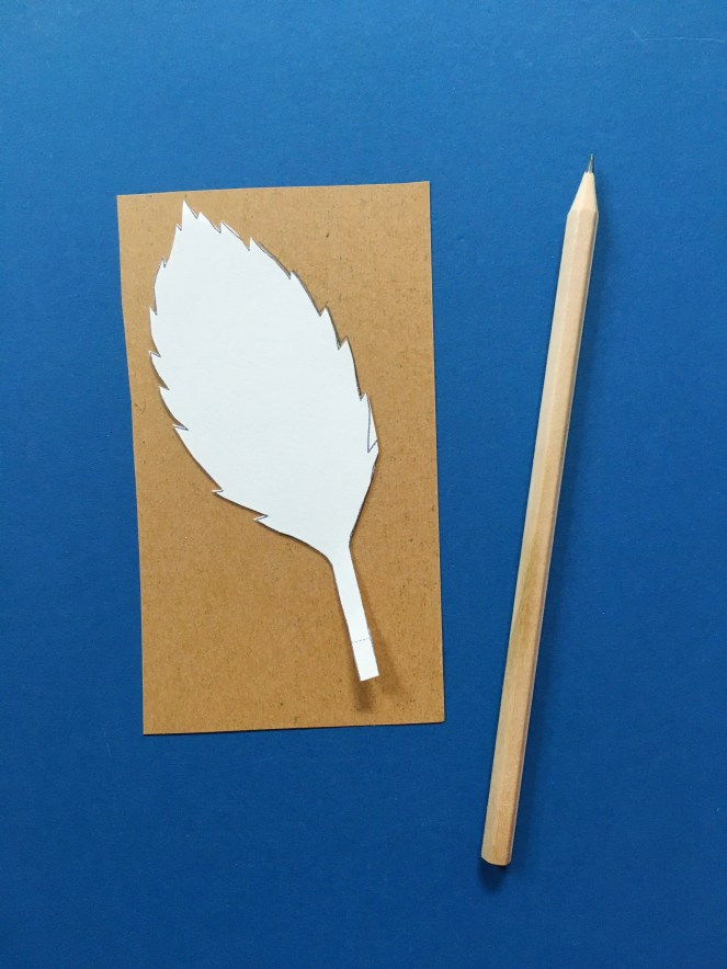Image of leaf template on paper.