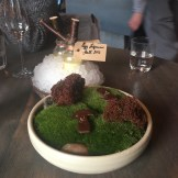 """Moss Cooked in Chocolate, Cep Mushroom, Egg Liqueur"""