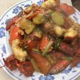 For New Year's Eve my dad cooked us lobster with ginger and spring onion with crispy noodles