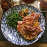 Delicious loaded pancakes with mashed avocado and bacon made with love and a smidgen of worry