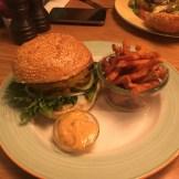 København burger with sweet potato fries at Halifax (125 DKK)