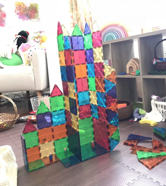 construction play with magnetic tiles