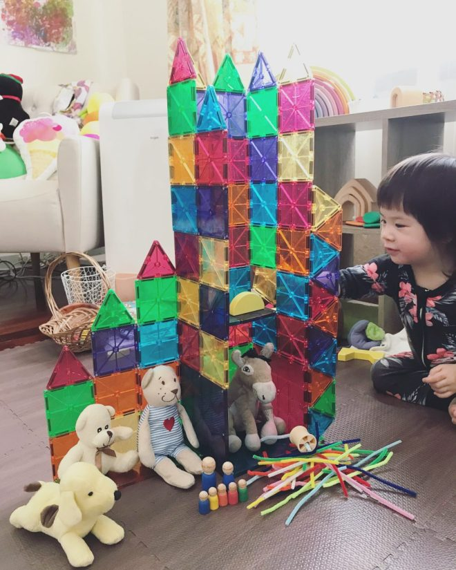 incorporating magnetic tiles in an imaginative play