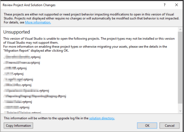 Visual Studio Unsupported Project Error