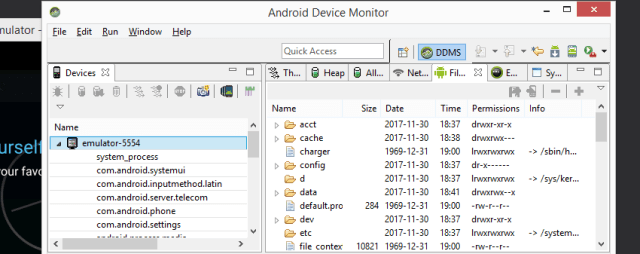 Android Device Monitor File Explorer
