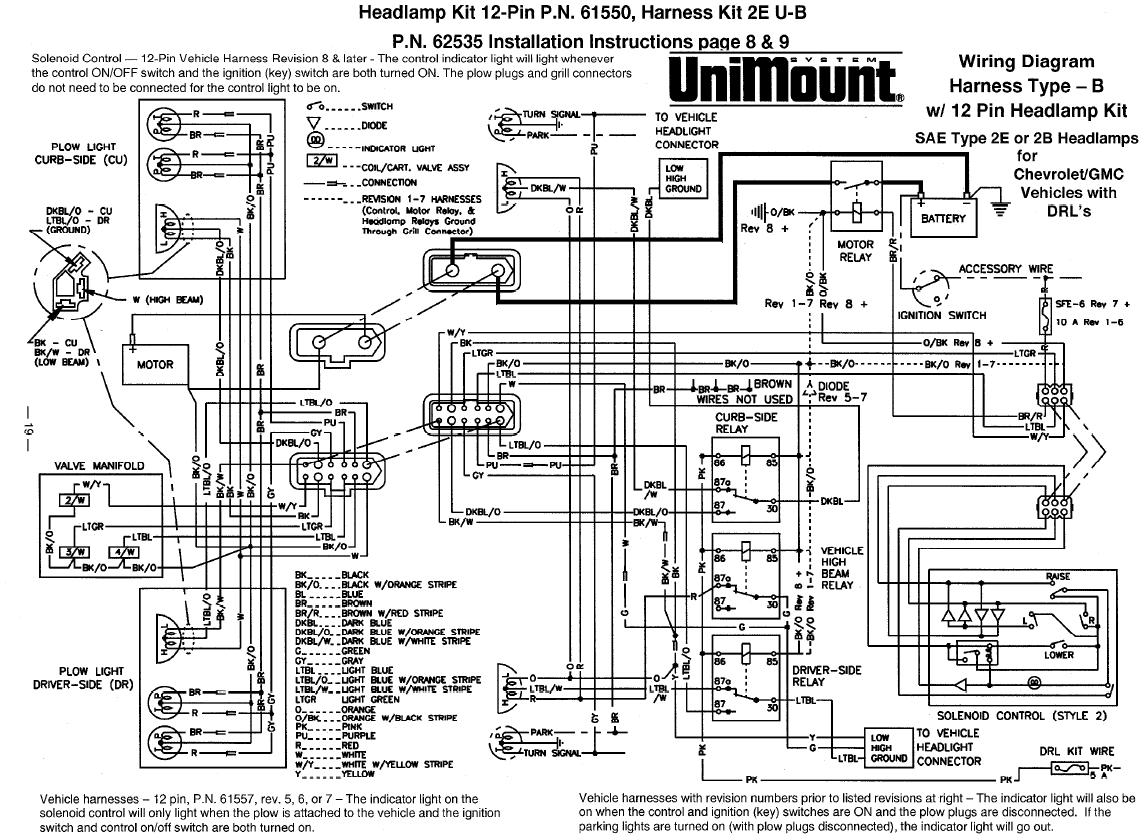 62535 12 Pin Western Unimount Duel 2E Headlight Harness