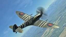DCS' excellent Spitfire Mark IX shows the beautiful elliptical wings of the Spitfire.