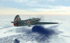 A Yak-1B flying over Stalingrad