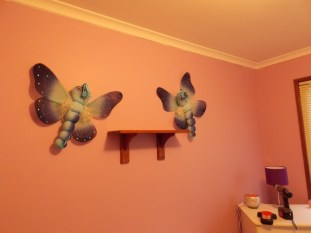 Butterflies hanging in bubba's almost-finished nursery