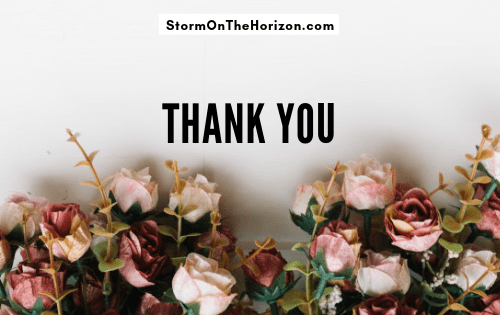 title graphic, flowers on white background: thank you