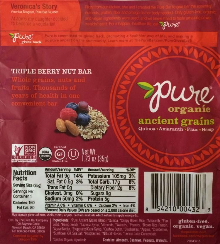pure ancient grains triple berry nut bar