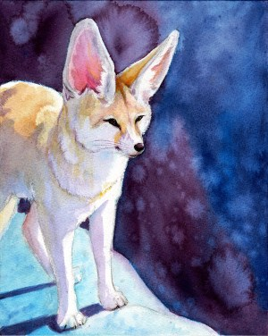 A fennec fox on an icy surreal watercolor background