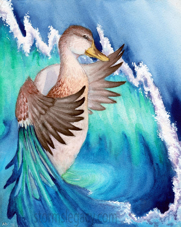 surreal mallard duck creating ocean wave in watercolor