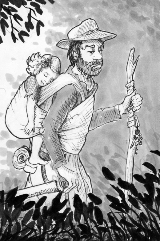 father and daughter ink drawing