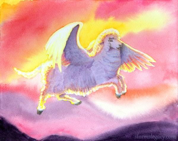 a watercolor painting of a corriedale sheep flying through the sky at sunset