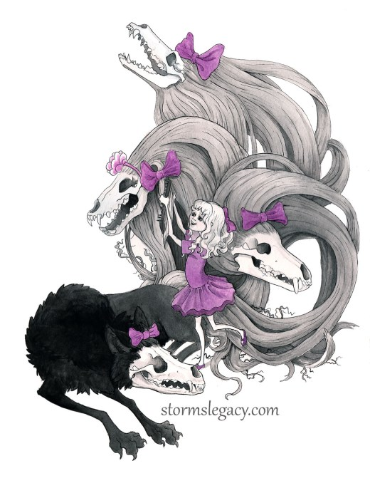gothic illustration of cute young girl with skull monster playing dress up