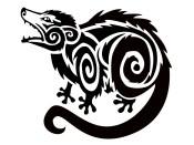possum blackwork animal tattoo